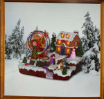 VILLAGE WITH FERRIS WHEEL BATTERY OPERATED - L23,5XW19XH18CM