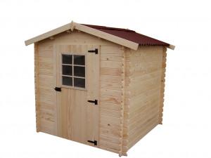 Abri Madriers bois massif / 20 mm / 4,08 m² / toiture plaques ondulées