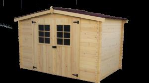 Abri Madriers bois massif avec grande façade 3 m / 20 mm / 5,83 m² / toiture plaques ondulées