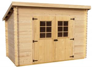 Abri Madriers bois massif avec grande façade 3 m toit 1 pente / 20 mm /  6,05 m²  / toiture plaques ondulées
