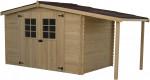 Abri Madriers bois massif avec bûcher / 28 mm / 9,49 m²