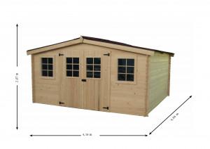 Abri Madriers bois massif grande façade 4 m / 28 mm / 16,81 m²