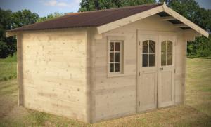 Abri Madriers bois massif avec double rainurage / 42 mm / 12,74 m² / toiture plaques ondulées