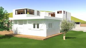 Abri Madriers bois massif double rainurage toit plat avec bac acier / 60 mm / 25,38 m²