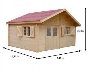 Abri Madriers bois massif / 42 mm / 22,37 m²