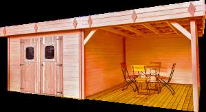 Abri Madriers avec terrasse douglas massif bois Français / 28 mm / Toit plat couverture bac acier /20,64 m2
