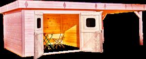 Abri Madriers avec terrasse fabriqué en douglas massif bois Français / 28 mm / Toit plat couverture bac acier / 29,04 m2