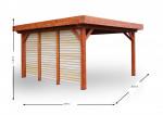 Auvent OMBRA toit plat couverture bac acier + ventelles mobiles sur 1 côté / 3.54 x3.54 m