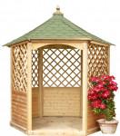 Pavillon hexagonal élégant bois massif/ surface au sol : 4,74 m²