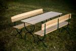 Set de jardin pliable FORTE en sapin 6 personnes comprenant une table longueur 180 cm + 2 bancs avec dossier 180 cm