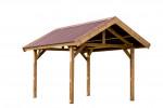 Carport fabriqué en bois massif traité très haute température / 3,55x5,04 m / Toit double pente couverture plaques ondulées Onduline