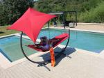 Set toile hamac avec ombrelle et support acier LEAF