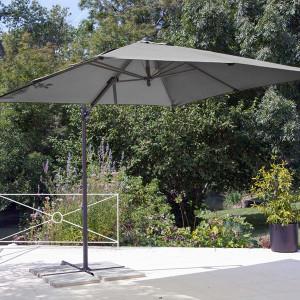 Parasol déporté Roma gris 2,5 x 2,5 m
